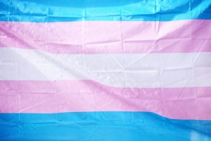 Photo of a blue and pink flag representing transgender and gender expansive people and community in Katy, TX 77494.