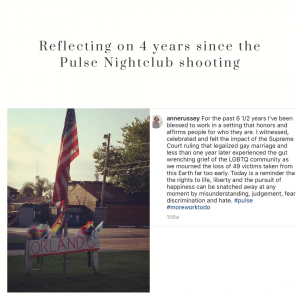 """This image reads """"Reflecting on 4 years since the Pulse Nightclub shooting"""" and contains a photograph of a memorial display of an American flag and a rainbow flag set up in an intersection of Houston, Texas in the Montrose Neighborhood on June 12, 2017 to commemorate the anniversary of the pulse nighclub shooting. This image also contains a screenshot of a caption that says """"for the past 6 1/2 years I've been blessed to work in a setting that honors and affirms people for who they are. I witnessed, celebrated and felt the impact of the Supreme Court ruling that legalized gay marriage and less than one year later experienced the gut wrenching grief of the LGBTQ community as we mourned the loss of 49 victims taken from this Earth far too early. Today is a reminder that the rights to life, liberty and the pursuit of happiness can be snatched away at any moment by the misunderstanding, judgement, fear, discrimination and hate."""""""